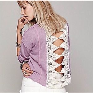 Free People Victorian Lace Pullover crochet back S